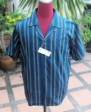 Handmade 1950's Style Vintage Mens Rockabilly Bowling Blue Stripe shirt loop