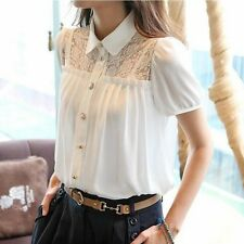Women Summer Lolita Puff Short-sleeve shirt OL Blouse Chiffon Lace Top