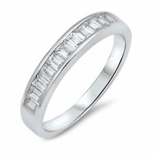 Baguette Simulated Diamonds Sterling Silver Fine Eternity Stackable Band Ring