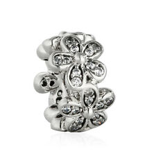authentic 925 sterling silver AAA CZ genuine charms Bead Flowers Spacer Charm