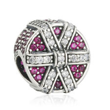 authentic 925 Sterling Silver Charm Beads Red & Clear Bow CZ genuine charms