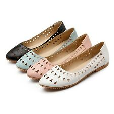 Slip Ons Boat Shoes Rounded Toe Hollow Synthetic Leather Ballet Flats
