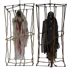 Haunted Halloween Screaming Spinning Caged Witch Ghoul Hanging Cage Decoration
