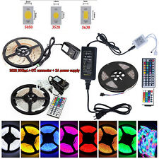 5M SMD 3528 5050 5630 300LEDs RGB/White/Warm LED Strip Light 12V Power Supply US