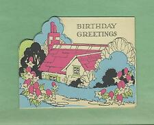 Lovely COUNTRY COTTAGE On Unused Vintage Art Deco BIRTHDAY Greeting Card