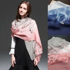 Women lady organza lace flower gradient omber hollow out scarf wrap shawl stole