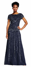 Adrianna Papell Short Sleeve Beaded Gown With Scoop Back Navy  - FINAL SALE