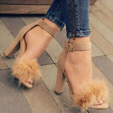 Elegant Women Fluffy Faux Fur High Heels Ankle Strappy Party Sandals Sexy Shoes