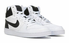 NIKE COURT BOROUGH MID TOP LEATHER WHITE BLACK MENS SHOES **WORLDWIDE SHIPPING