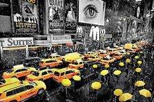 New Yellow Taxi Cab New York In The Rain Poster