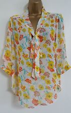 NEW DP 12-20 Pussybow Orange Yellow Floral Print Chiffon Blouse Top Smart Work