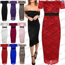 Ladies Midi Dress Womens Off Shoulder Contrast Panel Full Floral Lace Bodycon