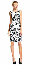 Adrianna Papell Split Neck Floral Sheath Dress  Piping Ivoryblack - FINAL SALE