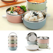 Stainless Steel Food Storage Container 1/2/3/4 layers Lunch Box Spoon Carrier