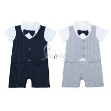 Gentleman Baby Kid Boy Romper Striped Jumpsuit Playsuit Birthday Outfit Clothes