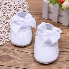 Baby Girls Infant Lace Floral Baptism Crib Shoes Dance Ballerina Slipper Bowknot