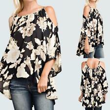Women Blouse Shirt Ladies Off cold Shoulder 3/4 Flare Sleeve Top Plus Size F6X0