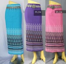 Folk Wrap Sarong Skirt Stitching Tie Waist Thai Tradition Long North Cotton
