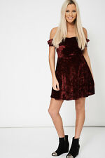NEW UK Women's Burgundy Velveteen Off Shoulder Dress Cocktail Party Ladies Mini