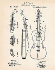 1887 Poage Violin Drawing Patent Art Print Gifts For Players Illustration Poster