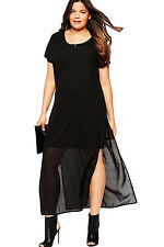 New Big Girl Maxi Dress Womens Black Chiffon Plus Size Overlay Cap Sleeve 14 20