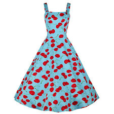 Vintage Blue Red Cherry Pinup Rockabilly Swing Cocktail Summer Party Dress