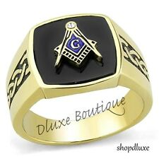 MEN'S 14K GOLD PLATED STAINLESS STEEL MASONIC LODGE FREEMASON RING SIZE 8-13