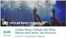 2 VIP tickets Outlaw Music Festival w/ Willie Nelson 8/28 at Hersheypark Stadium