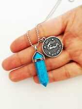 Blue Turquoise Point Necklace Zodiac Horoscope Pendant Charm Star Sign Boho NEW