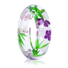Chunky Clear Resin Multicolor Natural Real Dry Flower Round Bangle Wide Bangle