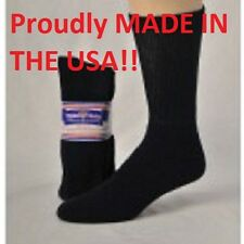 BLACK DIABETIC CREW SOCKS  PHYSICIANS CHOICE, SIZE 9-11 - 3 TO 12 Pair USA MADE