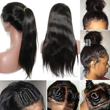 8A Silk Straight Brazilian Lace Front Wig Natural Color Black Human Hair Long #m