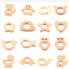 Cute Safe Natural Wooden Animal Shape Ring Baby Teether Teething Toy Shower Pop