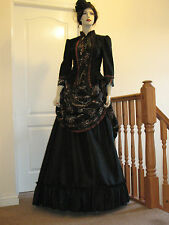 LADIES VICTORIAN STYLE  BUSTLE SKIRT OUTFIT / DRESS / COSTUME (BLACK & BRONZE)