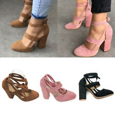 Womens Ladies High Heels Ankle Strap Cut Out Block Sandal Party Closed Toe Shoes