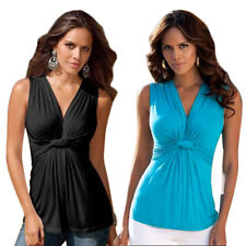 Party Silky Knot Front Plunge V Neck Blouse Womens Sleeveless Ruched Vest Top