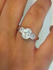 Diamond 925 Sterling Silver Oval Cut Baguette Solitaire Engagement Wedding Ring