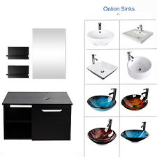 "28"" Vanity Cabinet Bathroom Single Top Vessel Sink Bowl Faucet Mirror Combo"