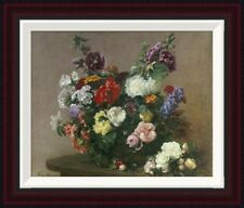 A Bouquet of Mixed Flowers by Henri Fantin-Latour Framed Painting Print