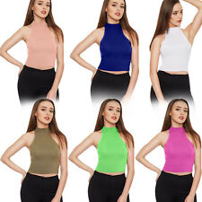 Women's Sexy Vest Sleeveless High Turtle Neck Knit T-Shirts Crop Top Blouse