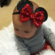 Minnie Mouse Ears Headband Sequin Baby Kids Girls Hair Bow Band Accessories