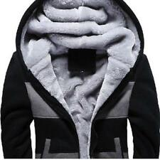 Mens Winter Warm Hoodie Thicken Fur Lined Fashion Sweater Coat Jacket Parka SIZE