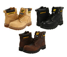 CAT Caterpillar 2nd Shift SAFETY STEEL TOE WORK BOOTS Honey Brown Black WIDE