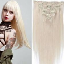"#60 7pcs straight Brazilian clip in remy blonde human hair Extensions 15""-22"""
