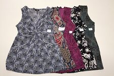 Daisy Fuentes Petite Printed Knot Front V Neck Sleeveless Knit Top Blouse NWT.