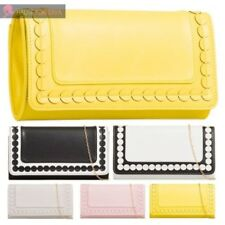 LADIES NEW FAUX LEATHER PATTERNED TWO TONE CHAIN STRAP PARTY CLUTCH BAG