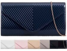 NEW WOMENS PATENT LEATHER QUILTED EVENING CLUTCH BAG HAND BAG PURSE