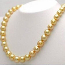 """Long 18""""-48"""" 8mm 10mm 12mm Gold South Sea  Shell Pearl Round Beads Necklace AAA"""