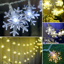 20/40 LED String Fairy Light Snowflake Xmas Wedding Party Decor Battery Powered