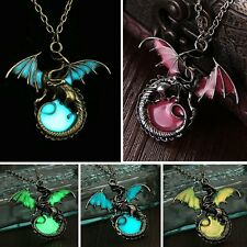 Vintage Luminous Glow In The Dark Dragon Pendant Necklace Fashion Jewellery Gift